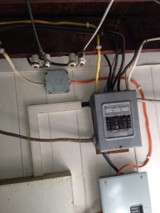 The orange Romex was used to restore the hot water power to the proper meter.